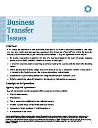 Business Transfer Issues