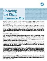 Choosing the Right Life Insurance Mix